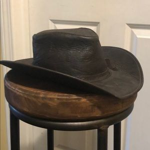 Leather Cowboy Style Hat